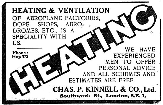 Chas P.Kinnell & Co: Air Conditioning For Aircraft Factories