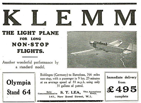 S.T.Lea - The Aeroplane Shop Concessionnaires For Klemm Aircraft