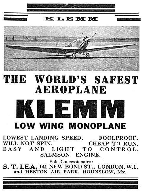 Klemm Low Wing Monoplane 1930