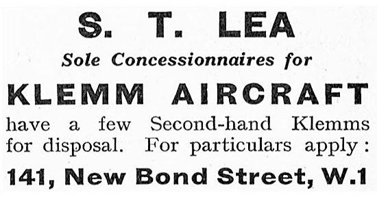 S.T.Lea - Sole Concessionnaires For Klemm Aircraft