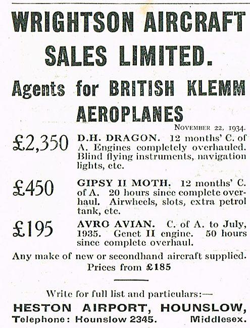 Wrightson Aircraft Ltd Heston Agents For British Klemm Aircraft