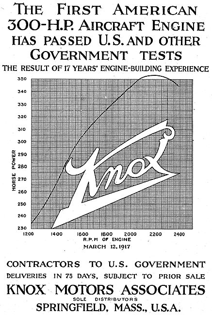 Knox Motors Associates. Springfield, Mass. - Aero Engines 1917