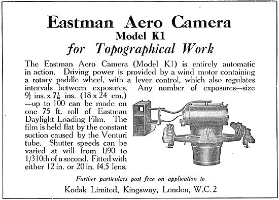 Kodak Eastman Aero Camera Model K1 For Topographical Work