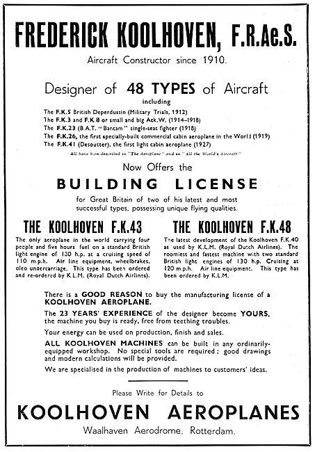 Koolhoven  F.K.5.  F.K.3  F.K.26   F.K.41  F.K.42  F.K.48