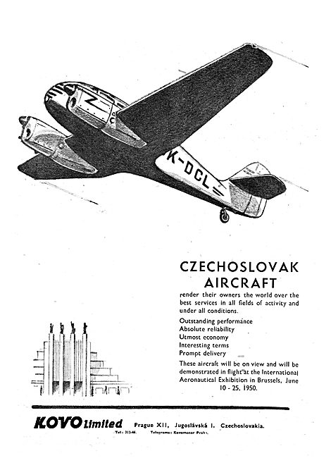 Kovo Aircraft Advert 1950 - Czechoslovak Aircraft