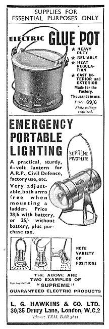 L G Hawkins Electric Glue Pot & Emergency Portable Lighting
