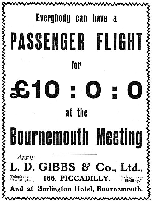 L.D.Gibbs & Co - Passenger Flight Arranged  At Bournemouth