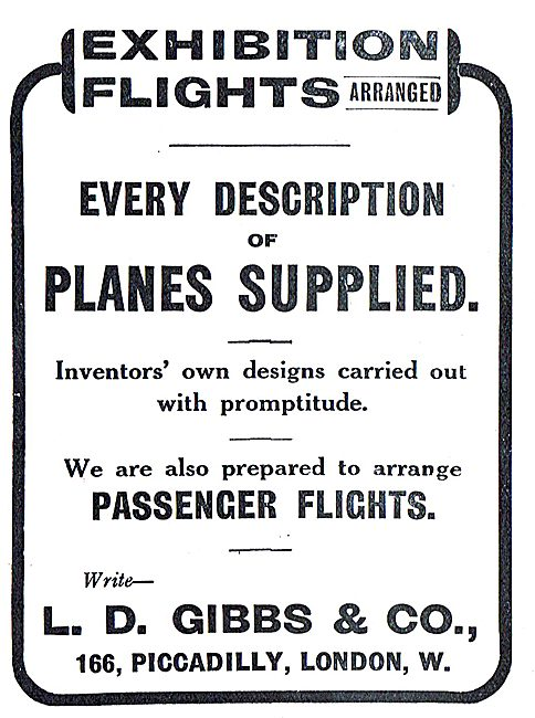 Exhibition Flights Arranged & Planes Supplied - L.D.Gibbs & Co