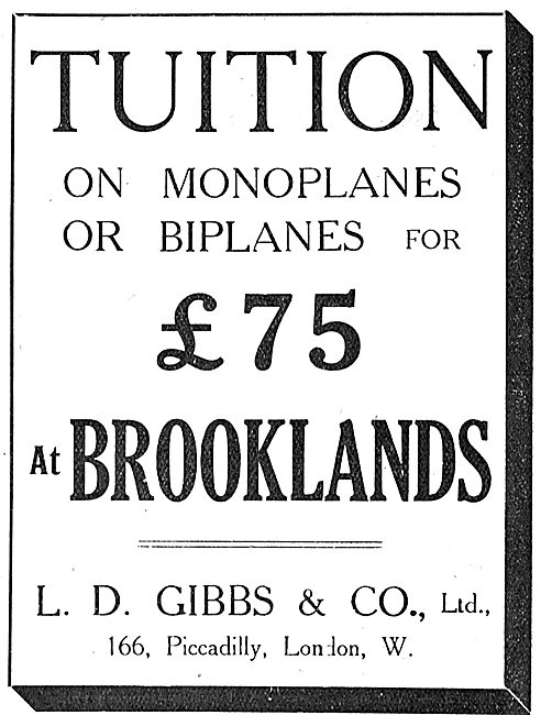Tuition On Monoplanes Or Biplanes At Brooklands - L.D.Gibbs & Co