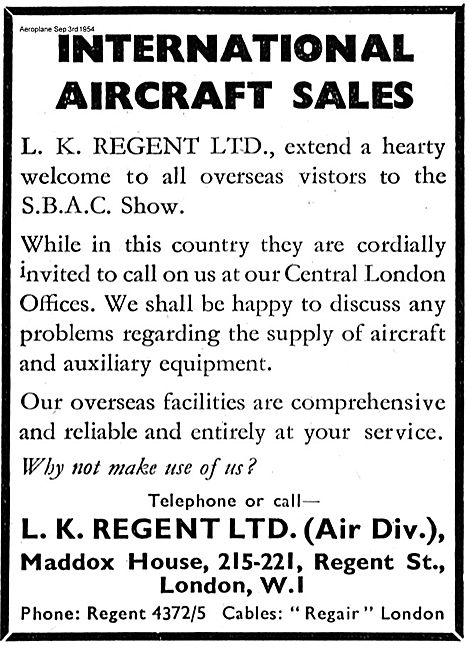 L.K. Regent Ltd  International Aircraft Sales