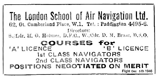 The London School Of Air Navigation. Courses For A Licence