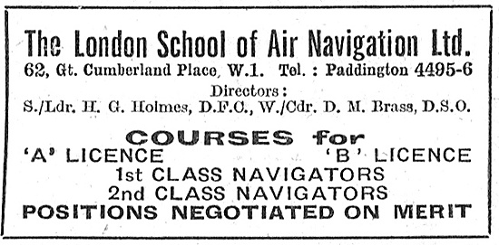 The London School Of Air Navigation Ltd Postal Courses 1947