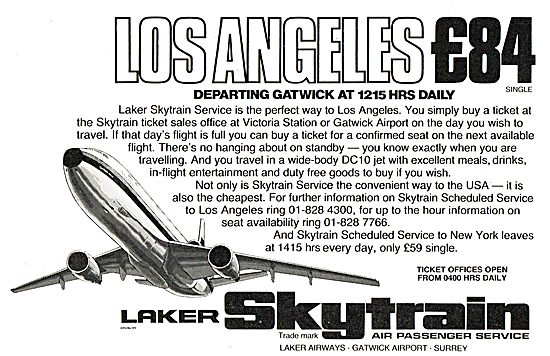Laker Skytrain - Los Angeles £84.00 Departing Gatwick 12:15 Daily