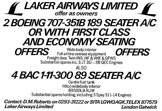 Laker Airways 707 & BAC 1-11 Aircraft For Disposal 1981