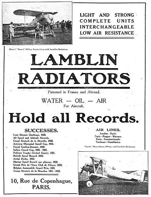 Lamblin Radiators For Aero Engines