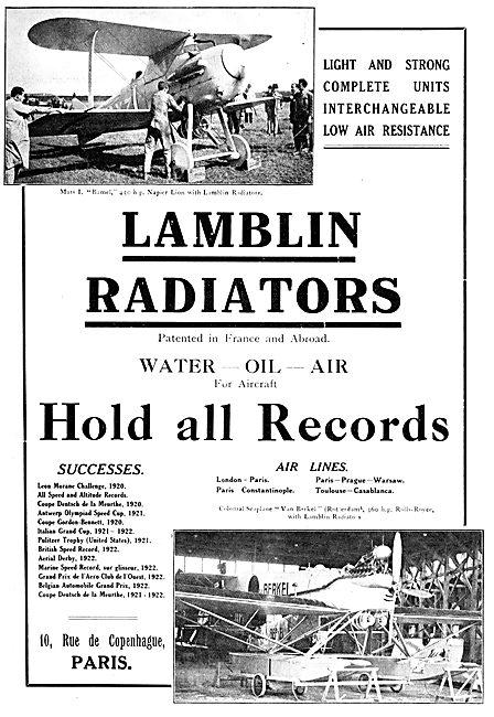 Lamblin Aircraft Radiators  1922 Advert