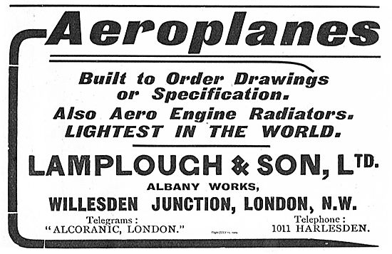 Lamplough & Son: Aeroplanes & Aeroplane Engines Constructed