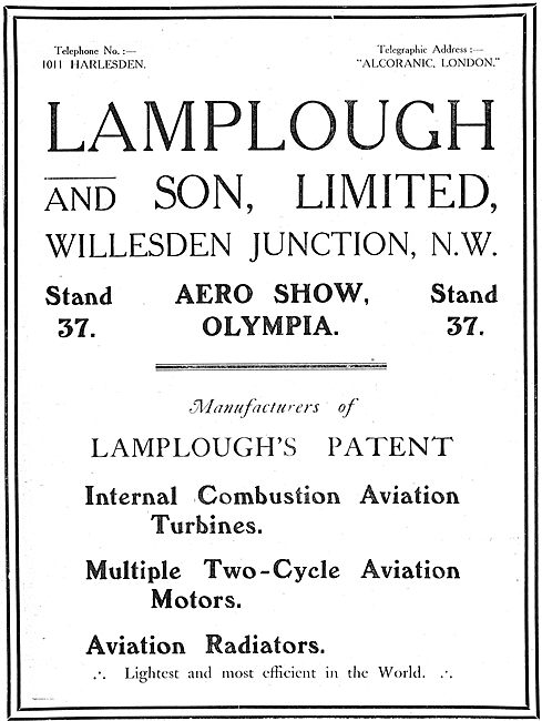 Lamplough & Son Ltd Manufacturers Of Aviation Engines & Radiators