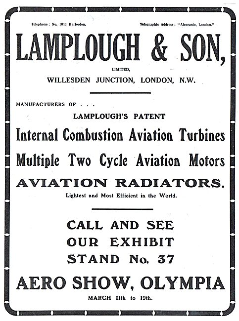 Come & See Lamplough-Albany Aviation Radiators At Olympia