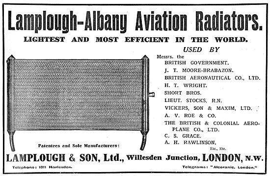 Lamplough-Albany Aviation Radiators. Light & Efficient.