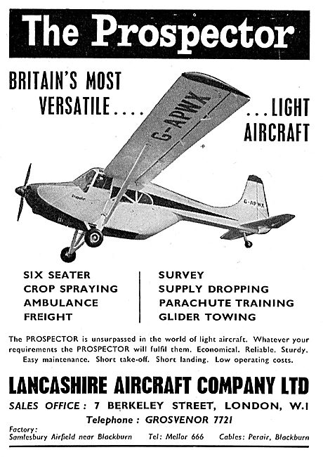 Lancashire Aircraft Prospector Utility Aircraft: G-APWX
