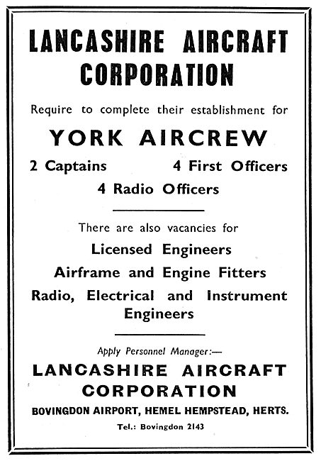 Lancashire Aircraft Corporation Bovingdon - York Aircrew