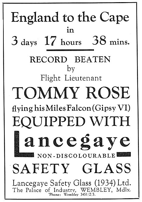 Lancegaye Safety Glass - Aircraft Windshields