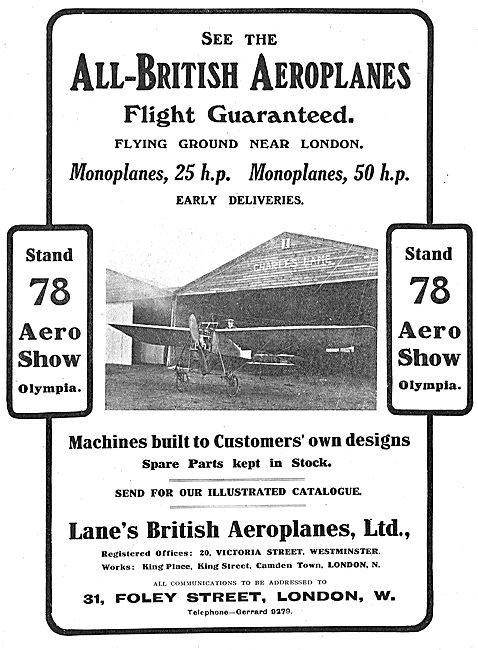 Lanes British Aeroplanes - Monoplanes & Biplanes 25-50 HP