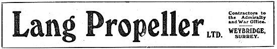 Lang Propeller Contractors To The Admiralty & War Office