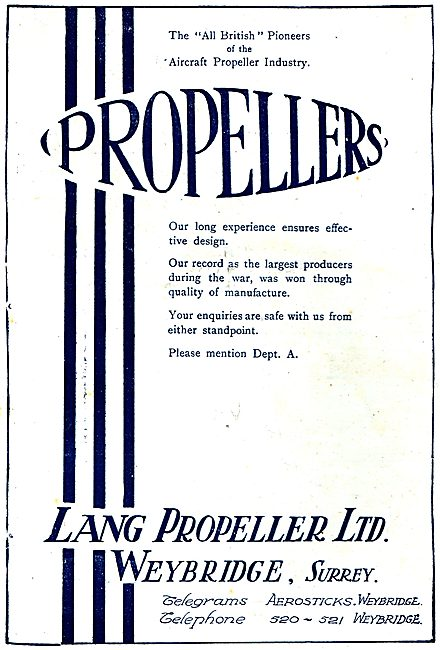 Lang Propeller Ltd. Weybridge Surrey