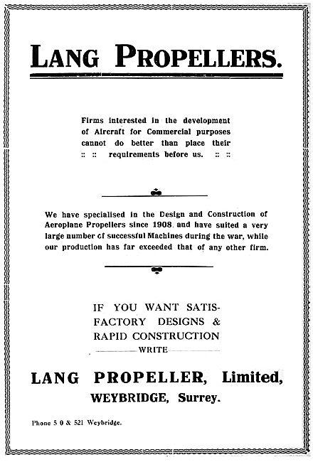 Lang Propeller Ltd. Weybridge Surrey 1919 Advert