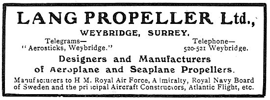 Lang Propellers For Seaplanes
