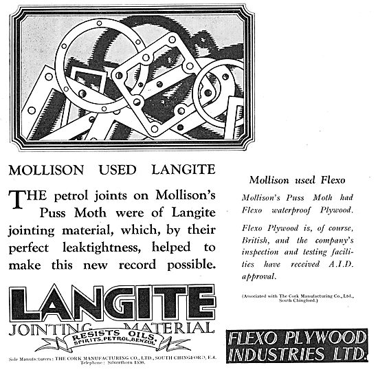 Mollison's Puss Moth Used Langite For Petrol Joints