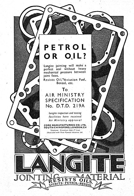 Langite Jointing Material & Gaskets - 1942 Advert