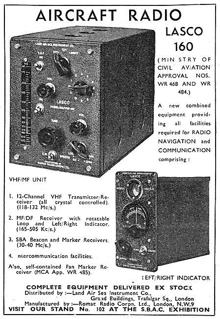 Lasco Aircraft Radios. LASCO 160 VHF/MF