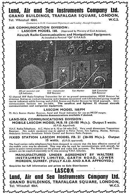 Land, Air, Sea Instrument. Lasco Aircraft Radios. Lascom 160/FM
