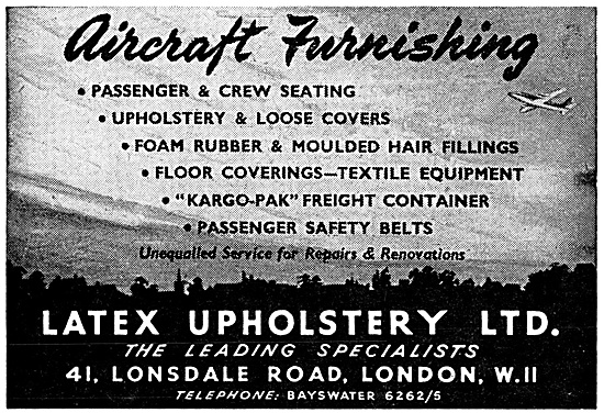 Latex Upholstery Products For Aircraft Interiors 1959