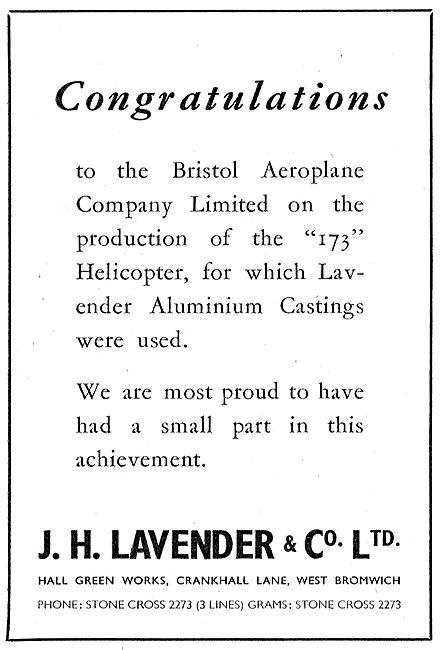J.H.Lavender . West Bromwich. Aluminium Castings.