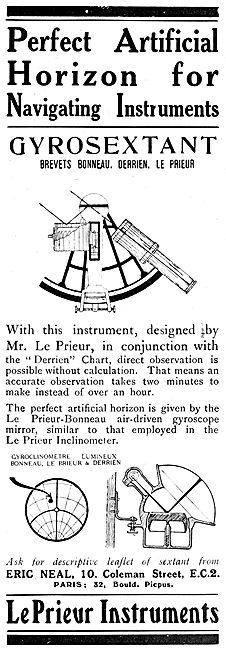Le Prieur Instruments. Gyrosextant.  1920 Advert