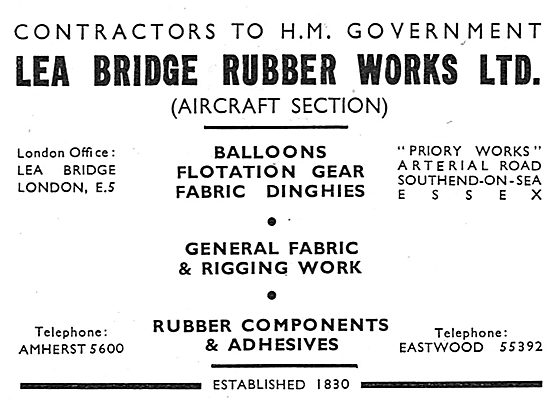 Lea Bridge (Aircraft Section) Rubber: Dinghies & Flotation Gear