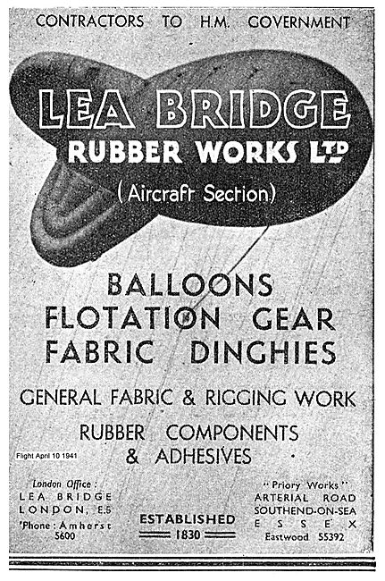 Lea Bridge Rubber Works. Balloons, Dinghies & Flotataion Gear