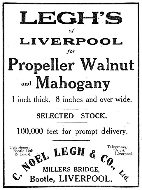 C.Noel Legh & Co. Timber Importers. Legh's Of Liverpool 1916