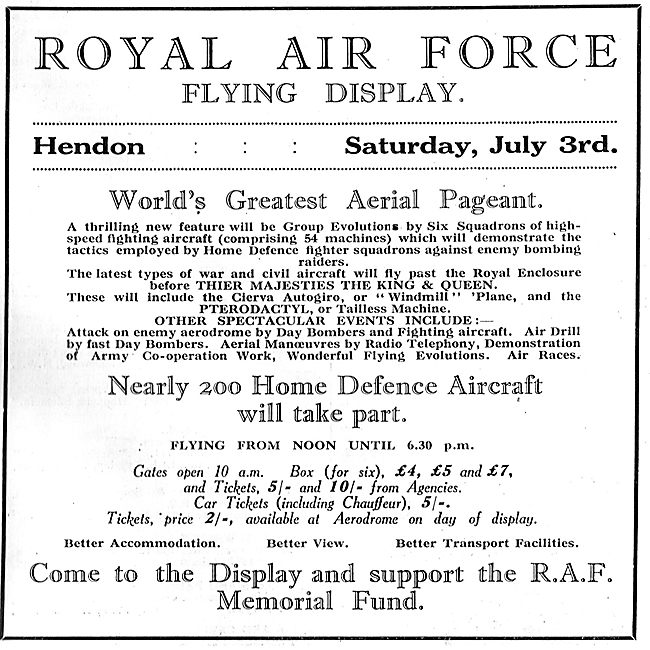 RAF Flying Display Hendon July 3rd 1926