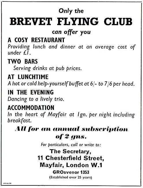 Brevet Flying Club Chesterfield Street Mayfair