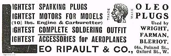 Leo Ripault Oleo Sparking Plugs For Aeroplane Engines