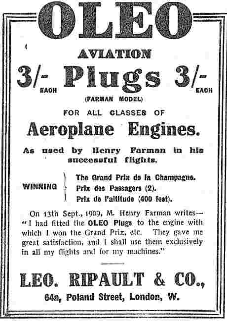 Leo Ripault Aviation Sparking Plugs (Farman Model)  3/-