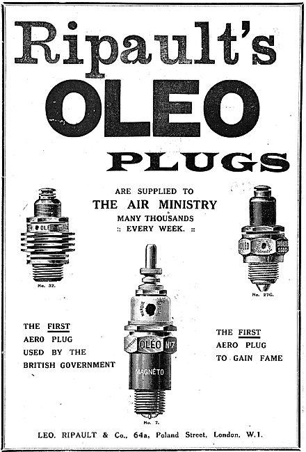 Ripault's Oleo Aero Engine Sparking Plugs