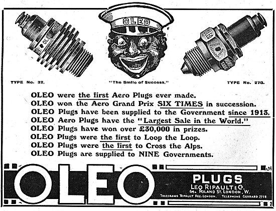 Ripault Oleo Aero Engine Sparking Plugs: Achievements