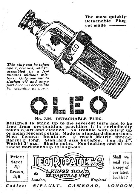 Leo Ripault OLEO Sparking Plugs For Aircraft. 1920