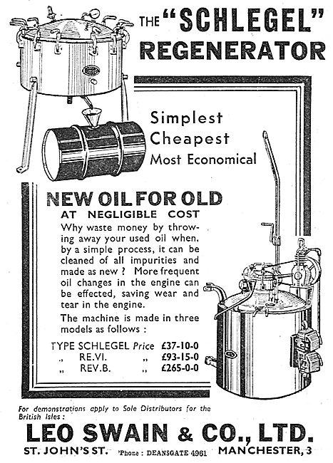 Leo Swain. Schlegel Oil Regenerator 1939